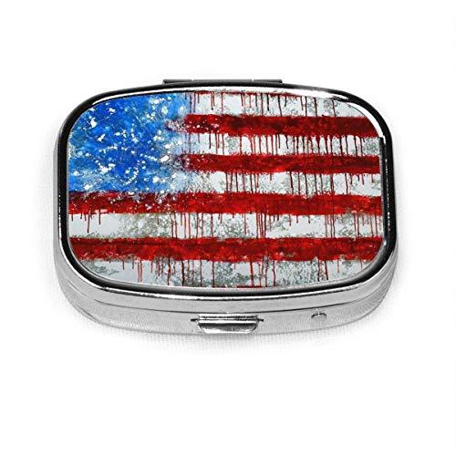 Acid Vintage American Flag Krawatte Farbstoff quadratische Pille Fall tragbare Box Tasche Geldbörse Tablet Medizinhalter Reiseorganisator Fälle