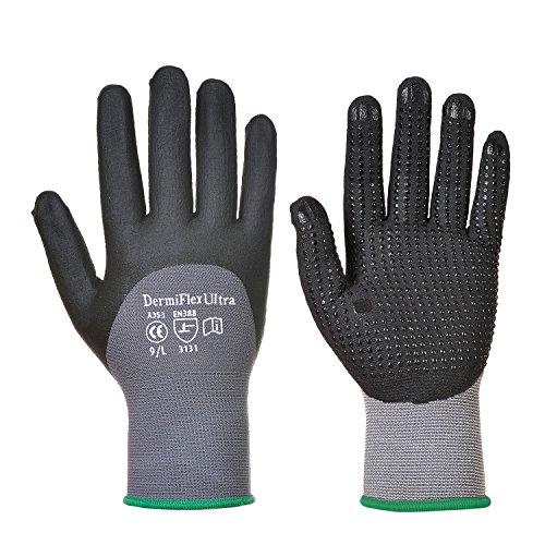 Portwest A353G8RM DermiFlex Ultra Handschuh, Regular, Größe M, Schwarz