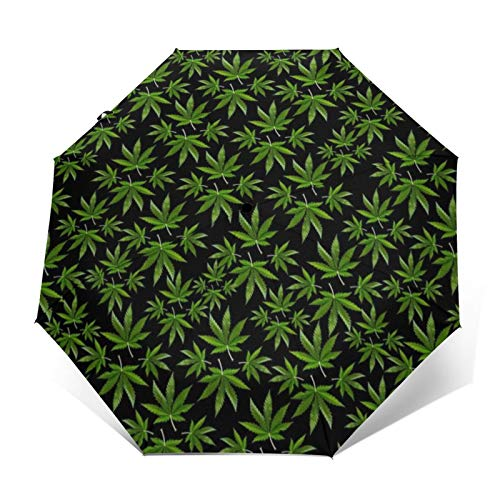 Automatic Tri-Fold Umbrella 3D Outer Printed Sweet Indica Sativa Hybrid Windproof Uv Protection Umbrellas for Daily Use