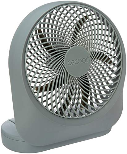 O2 Cool Fan 8 inch Battery or Electric Operated Indoor/Outdoor Portable Fan with AC Adapter, Tilts 90 Degrees
