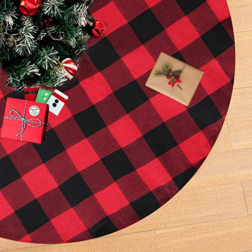 B-COOL Skirt Christmas for Tree Red and Black Tree Skirt Cotton Tree Skirt Christmas Decoration Holiday Party Tree Skirt Double Layers 24 Inch Xmas Tree Skirt
