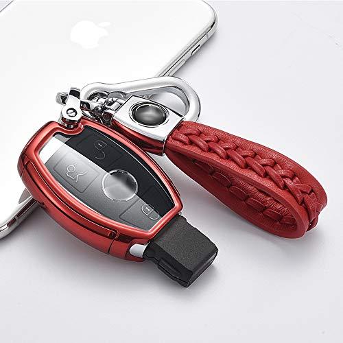 ontto Autoschlüssel Hülle für Mercedes A B C E S Klasse CLK ML W164 W245 A209 W204 W212 Zubehör Fernbedienung Cover TPU Schlüsselhülle Schlüsselanhänger Schlüssel Schutz Etui 2/3 Tasten-Rot