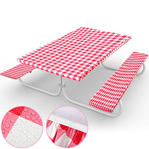 3 Pieces Picnic Tablecloth Set Red and White Gingham Plaid Table Cover for Table and Bench,72 x 30 Inch