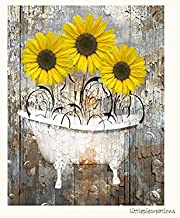 Rustic Yellow Brown Wall Art, Sunflower Decor, Farmhouse Bathroom Matted 5x7, 8x10, 11x14 Home Decor Wall Art (Picture Options)