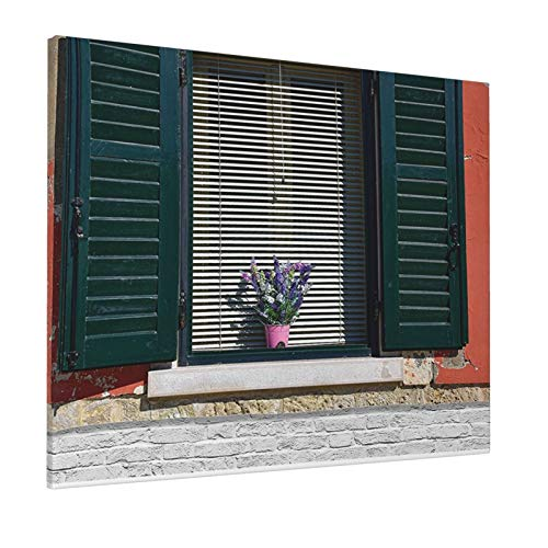 """Shutters Decor Old Italian Stone House with Medieval Style Shutters and Colorful Flowers Image Red Green Greypainting 16"""" X 20"""" Panoramic Canvas Wall Art"""