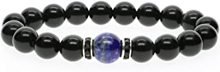 Mens Womens Black Obsidian Stone Bracelet
