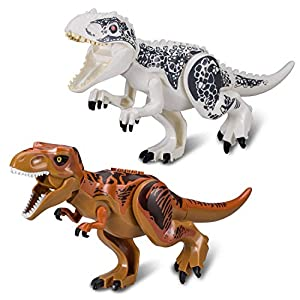2 Sets Large Size Lifelike Multicoloured 3D Jigsaw Puzzles T-Rex Dinosaur Building Blocks for Children (Larger Size, White + Coffee) from Greshare
