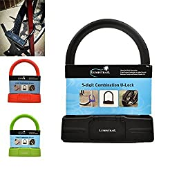 Lumintrail 18mm Heavy Duty 5-Digit Bicycle Bike Combination U-Lock