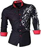 jeansian Camisas de Hombres Mangas Largas Moda Men Shirts Slim Fit Causal Long Sleves Fashion Z030 Black XXL