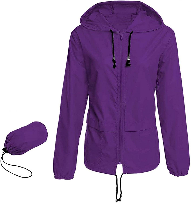Women's Waterproof Rain Jacket Lightweight Hooded Windbreaker Packable Active Outdoor Raincoat With Pockets