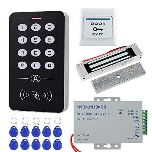 HFeng Sistema Control Acceso barato Kit Set Control Teclado Control Acceso RFID + 180KG / 350lbs Cerradura Magnética Eléctrica + 10pcs Llaveros RFID Tarjetas para Sistema Entrada de puerta