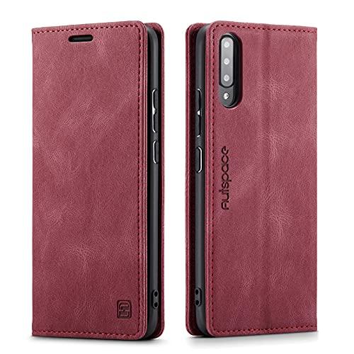 LOLFZ Hülle für Samsung Galaxy A70, Vintage Dünne Leder Handyhülle mit RFID Schutz Kartenfach Ständer Magnetische Flip Schutzhülle Kompatibel mit Galaxy A70 - Rot