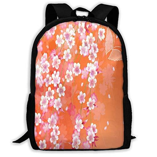 TTmom Zaini/Zaino Casual,Borse a Zainetto, Backpack Japanese Kimonos Patterns Orange Zipper School Bookbag Daypack Travel Rucksack Gym Bag For Man Women