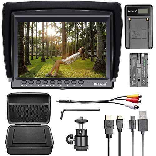 Neewer F100 Set Monitor-Kamera: 17,78cm (7 Zoll) Ultra HD 1280x800 IPS-Monitor-Felddisplay + F550-Ersatzakku + Micro-USB-Ladegerät + Tragetasche für Sony Nikon Olympus Panasonic