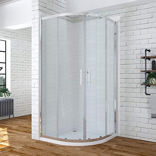 80x80 x 185 cm Duschkabine Viertelkreis Rund Dusche Schiebetür Duschabtrennung Runddusche Duschtrennwand Duschwand Glas aus 6mm ESG Glas