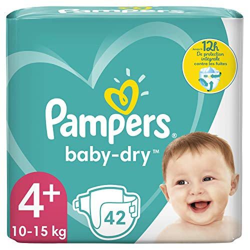 Pañales Pampers talla 4+ (10-15 kg), 42 capas, hasta 12 horas de protección.