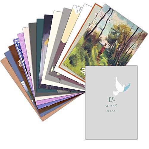 Carte Remerciements Condoléances — Lot de 16 Cartes Différentes ➽ Format Carte Postale (3 Formats Dispos) — Originale Carte Remerciements Condoléances