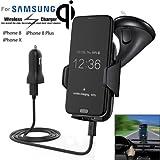 Nordecco Qi wireless caricabatterie per parabrezza auto supporto supporto da tavolo per Samsung S6S7S8note 8iPhone 88Plus iPhone x