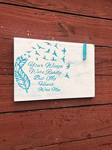 St234tyet VERKOOP Uw vleugels waren klaar teken houten herdenkingsbord foto weergave begrafenis gedenkteken voor bruiloft in liefdevolle memo