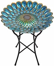 Peaktop 3207000 Outdoor Glass Solar Bird Baths, 18-Inch Blue