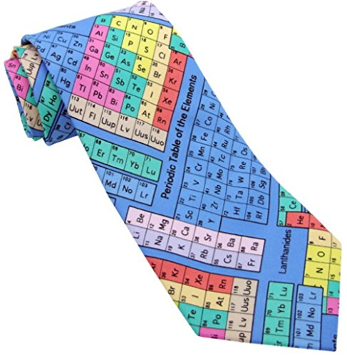 Coloured Periodic Tables on blue repeating 100% Polyester Classic Tie