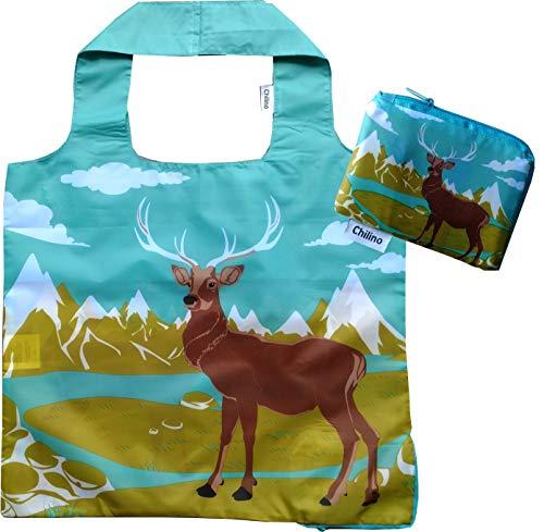 Chilino Faltbare Einkaufstasche, groß und stabil, umweltfreundlich, 100% Polyester, Hirsch, grün, 47x41