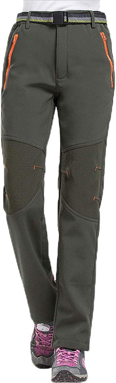 LANBAOSI Womens Winter Hiking Pants Outdoor Fleece Windproof Softshell Ski Pants