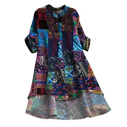 Vestido de verano de lino para mujer, cuello en V, vestido de playa, estampado en A, largo hasta la rodilla, sin accesorios Azul_#8a XXL