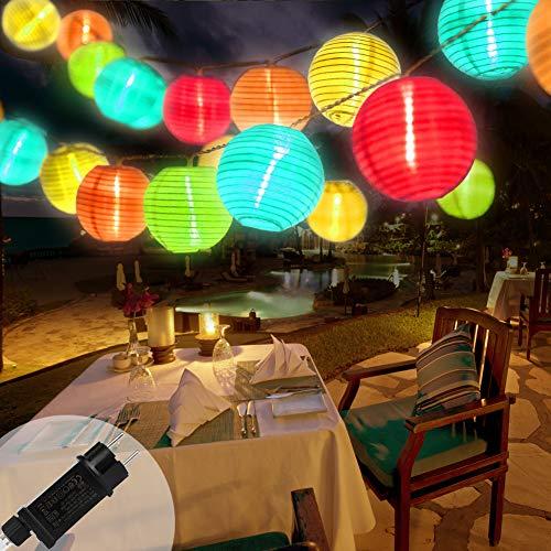 Lampion Lichterkette Außen 10M 40er LED Wasserdicht Lampion Gartenlaterne Lichterkette Aussen Beleuchtung mit Stecker, 8 modi, für Balkon, Party, Garten, Hof, Hochzeit, Fest Deko (Mehrfarbig)