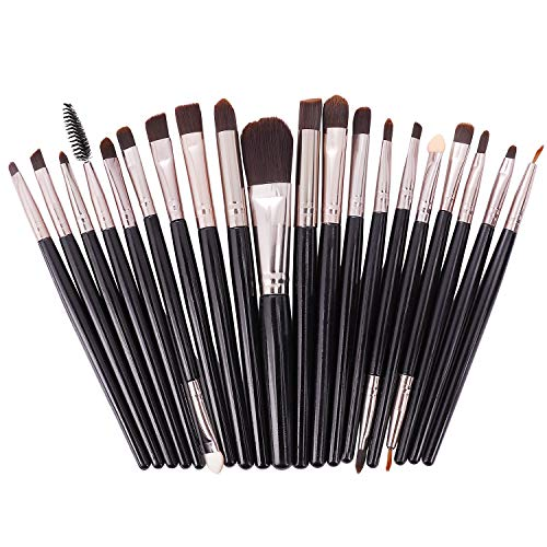 Brochas de Maquillaje 20 piezas Pinceles de Maquillaje Profesional Fibra Sintética para las Cejas, Facial, Base de Maquillaje, Polvos, Crema,Blush Concealers Kit de pinceles (Negro)