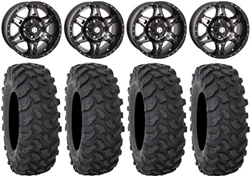 "Bundle - 9 Items: STI HD7 14"" Wheels Smoke 32"" XTR370 Tires [4x156 Bolt Pattern 12mmx1.5 Lug Kit]"