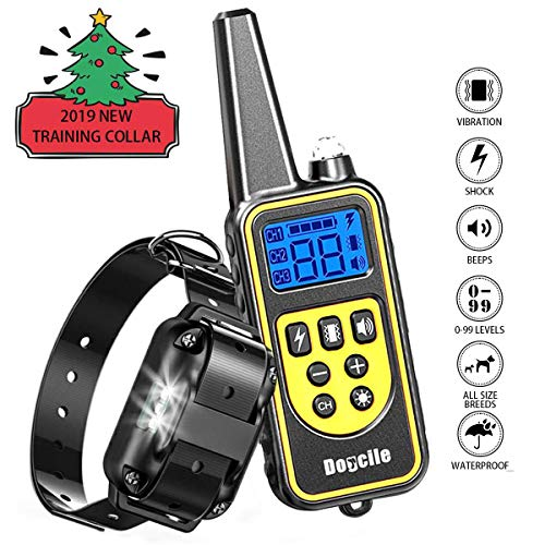 FUNSHION Dog Shock Collar with Remote,Shock Collar for Dogs IPX7 Waterproof and Rechargeable Dog Training Collar 800 Yards Beep/Shock/Vibration/LED Light