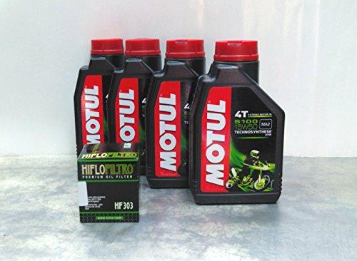 Motul 5100 15W50 4 litres d'huile de moto + filtre à huile Technosynthese synthétique