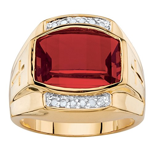 Palm Beach Jewelry Men's 18K Yellow Gold Plated Emerald Cut Created Red Ruby and Diamond Accent Ring Size 11