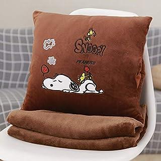YYBF Almohada de Dibujos Animados Almohada de Siesta Almohada Aire Acondicionado Colcha de Dos usos Manta de cojín Multifuncional Perro Marrón