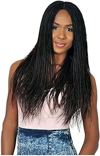 Well Synthetic high temperature wig African braid wig European and American female wig long hair elastic net mechanism chemical fiber headgear Can be used for party show, Halloween (Color : Black)