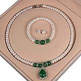 Comet Conjunto De Joyas para Mujer Collar De Perlas Pendientes Pulsera áGata Colgante Bead Trail 7-8mm Longitud Total 45cm Pulsera Aprox. 18 Cm