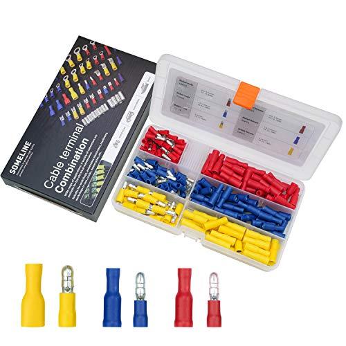 Kabelschuhe Kit Isolierte Stoßverbinder Rundstecker Steckverbinder Rundsteckhülsen für 0.5-6 mm² Kabel SOMELINE Bullet Kabelverbinder 200 Stück in 3 Größe