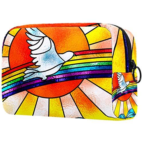 Bolsa de Maquillaje Organizador Small CosmeticBagsforWomen Neceser de Viaje Neceser Estuche de Maquillaje Monedero Bolso White Dove Flying Over Rainbow Bird and Sun