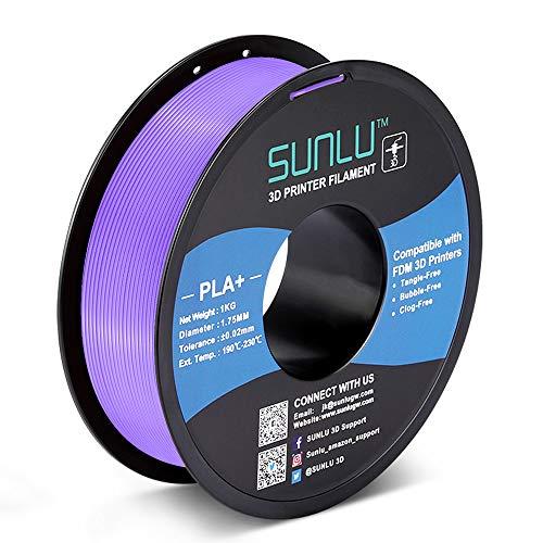 SUNLU PLA Plus 3D Filament 1.75mm for 3D Printer & 3D Pens, 1KG (2.2LBS) PLA+ Filament Tolerance Accuracy +/- 0.02 mm, Purple