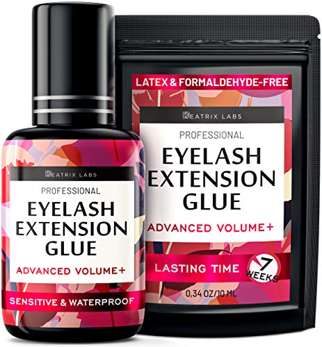 Eyelash Extension Glue - Individual Lash Adhesive Supplies - Black Glue for Professionals - Latex Free, Waterproof, Quick & Strong - 2-Seconds Dry Time & 7-Weeks Lasting Time - 10ml Long Use