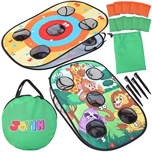 JOYIN Collapsible Portable Cornhole Game Toss Game Set Bounce Bean Bag Outdoor Indoor Yard Game (3 x 2ft Double-Sided Board, 10 Bean Bags, Carrying Bag)