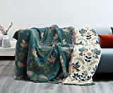 Cotton Blanket, Boho Oversized Throw Chair Covers with Tassels 78'x90' Lightweight Decorative Queen King Size Bed Woven Blanket 4 Layers Muslin Couch Slipcover Summer Blanket