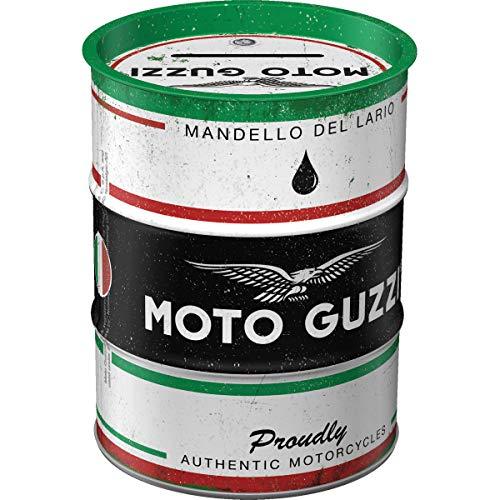 Nostalgic-Art Hucha Retro de Barril de Aceite de Moto Guzzi Motorcycle Oil – Idea de Regalo para los Fans de Las Motocicletas, Hucha de Metal Vintage, 600 ml