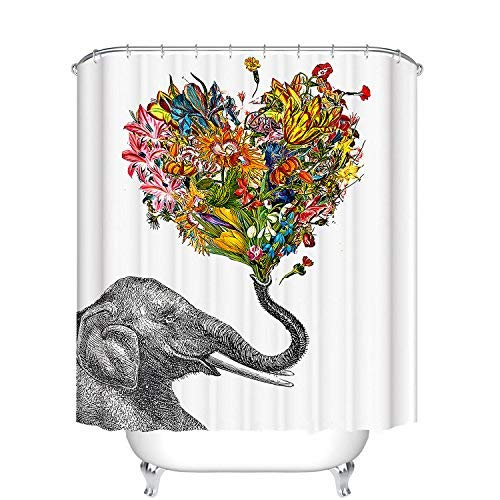 Fangkun Bathroom Shower Curtain Elephant Heart-shaped Floral Design - Polyester Fabric Waterproof Bath Curtains Decor Set - 12pcs Hooks - 72 x 72 inches
