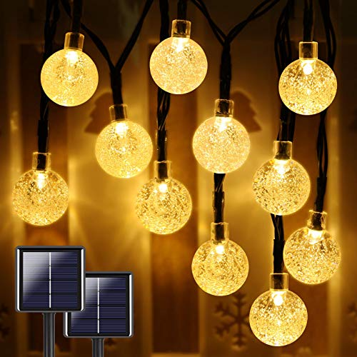 Extra-Long 2-Pack 160 LED 46FT Crystal Globe Solar String Lights Outdoor, Waterproof Solar Lights Outdoor Decorative, 8 Modes Solar Powered Patio Lights for Garden Yard Party Wedding (Warm White)