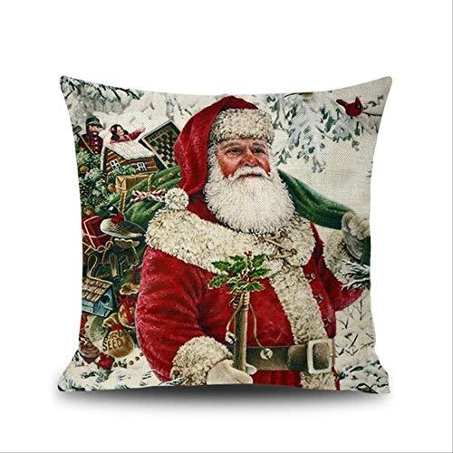 JOEYFAYE 2020 Navidad Estilo Retro cojín Cubierta sofá Cama Home decoración Almohada Caso cojín cojín Cubierta Feliz Navidad 45x45cm Estilo 7