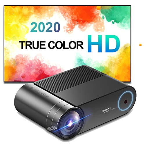 ERISAN HD-F20B Projector, 500 ANSI Brightness, 1080P Supported Portable LED Video Beam, Compatible w/HDMI,TV Stick for Multimedia Movie Games