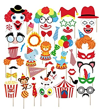Kristin Paradise 44Pcs Circus Animals Photo Booth Props with Stick – Carnival Selfie Props - Circo Party Supplies – Birthday Theme Backdrop Decorations for Kids Baby Shower 1st First Bday