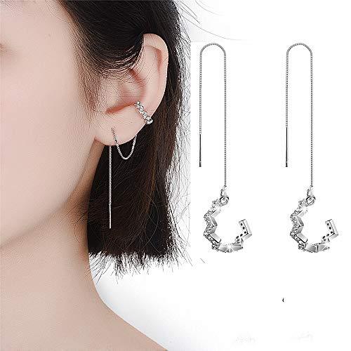 Ohrringe Wickelmanschette Sterling 925 Silber Ohr Einfädler Ohr Manschette Wave Heart Dangle Drop Earrings(Sliver)
